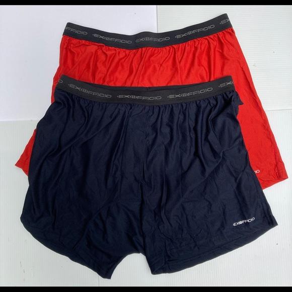 Exofficio NWOT 2 pair Men's 1 Black 1 Red Boxers